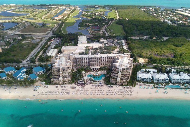High up view of 7 mile beach condos including Ritz Carlton Residences, Cayman Islands