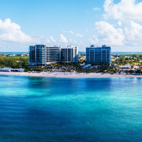 Aerial photo of luxury condo building in the Cayman Islands