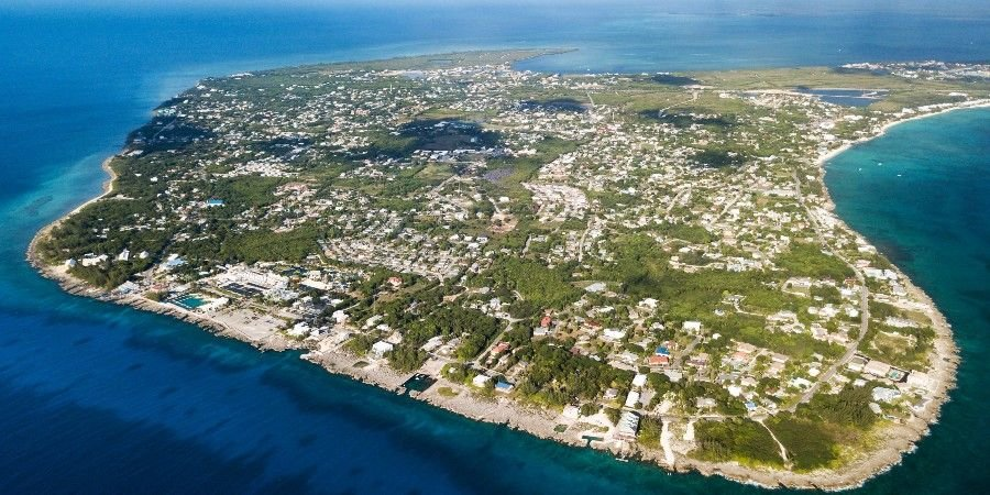 aerial view of grand cayman island of the cayman islands